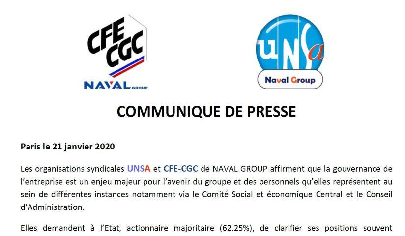 Communiqué de Presse - Gouvernance de Naval Group